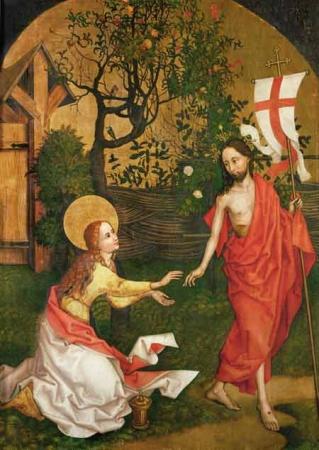 "Bild: Martin Schongauer, ""Noli me tangere"" (1485). shop.liturgie.de"